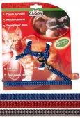 Camon Комплект нагръдник и повод за котки със светлоотразителни ленти