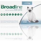 Merial Broadline 0.3 мл за котки до 2.5 кг, 3 броя пипети - спот он разтвор срещу вътрешни и външни паразити