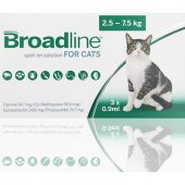 Merial Broadline 0.9 мл за котки от 2.5 до 7.5 кг, 3 броя пипети - спот он разтвор срещу вътрешни и външни паразити