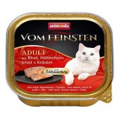 Von Feinsten Cat 2 в 1- пастет с хапки, говеждо, пилешки гърди и билки