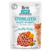 Brit Care Cat STERILISED Healthy Rabbit in Gravy - пауч за кастрирани котки, със заешко в сос