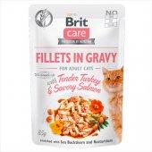 Brit Care Cat TENDER TURKEY & SAVORY SALMON in Gravy - пауч с пуешко и сьомга в сос