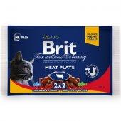 КОТКИ | Храна за котки | Brit Premium МULTIPACK с месо - 4 пауча x 100 гр