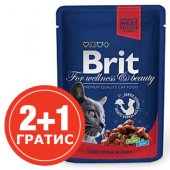 Brit Premium Adult Cat - пауч с говеждо и грах