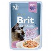 Brit Premium Cat Sterilised, пауч 85гр - филенца от сьомга в сос, за кастрирани