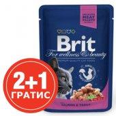 Brit Premium Adult Cat - пауч със сьомга и пъстърва