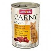 Carny Adult с говеждо, пиле и патешки сърца - консерва за котки