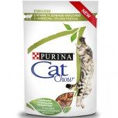 Cat Chow Sterilised - пауч за кастрирани котки с агне и зелен фасул