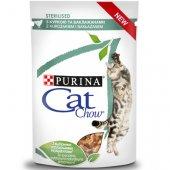 Cat Chow Sterilised - пауч за кастрирани котки с пиле и патладжан