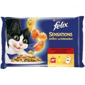 Felix Sensations 4 пауча x 100 гр - Пиле и Говеждо с Ароматно Желе