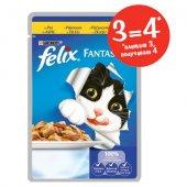 КОТКИ | Храна за котки | ПРОМО Felix Фантастик Пауч Пиле в желе - 4 пауча по 100гр