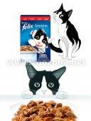 КОТКИ   Храна за котки   Purina Felix Фантастик Пауч Говеждо в желе, 1бр с 1бр ПОДАРЪК