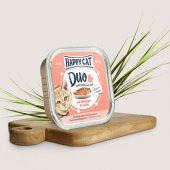Happy Cat Duo - хапки с пастет с пилешко месо и сьомга, 100 гр