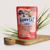Happy Cat пауч месо Adult, 85гр - говеждо и сърца
