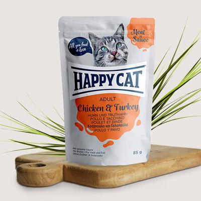 Happy Cat пауч в сос, 85гр - пиле и пуйка
