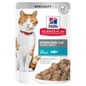 Hills Cat Young Adult Sterilised TROUT - 12 пауча с пъстърва за кастрирани