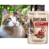 Shelma Cat Паучове за котка, 28x85гр - говеждо, домати, билки