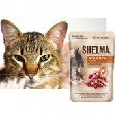 Shelma Cat Паучове за котка, 28x85гр - патица, червена боровинка