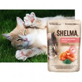 Shelma Cat Паучове за котка, 28x85гр - сьомга, спирулина