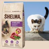 Shelma Cat Храна за кастрирани котки, с говеждо