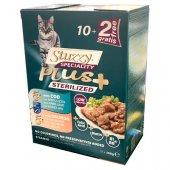 Stuzzy Cat Sterilised 6 пауча с треска и 6 пауча със сьомга