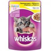 Whiskas пауч Junior, за малки, с Пилешко в желе