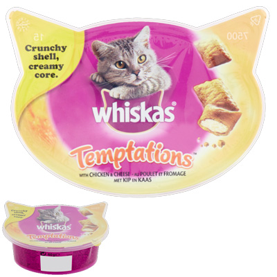 Whiskas Temptation - изкушение с пиле и сирене, 60гр