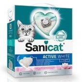 Sanicat Active White Lotus - котешка тоалетна висококачествен бял бентонит, аромат на цветя