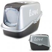 Savic Nestor Love - Затворена котешка тоалетна с филтър, цвят сребро