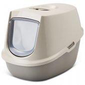 Savic Happy Planet Manon, 54.5х39х39см - сива котешка затворена тоалетна