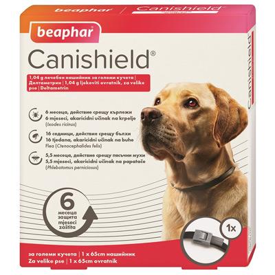 Beaphar Canishield, 65см - противопаразитен нашийник за куче против кърлежи, бълхи и пясъчни мухи