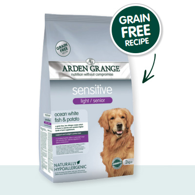 Arden Grange Dog Sensitive Light Senior Grain Free - океанска бяла риба и картоф