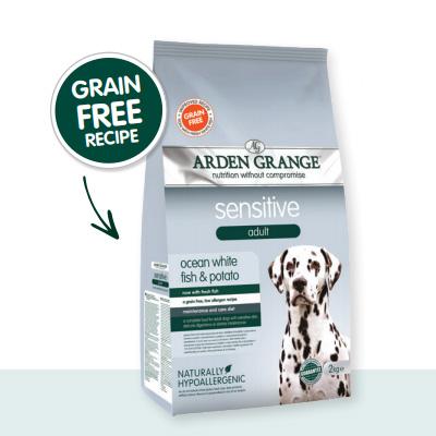 Arden Grange Dog Sensitive Adult Grain Free - океанска бяла риба и картоф