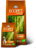 Ecopet Natural Lamb - с агнешко месо за кучета средни и големи породи над 12 месечна възраст, 12кг
