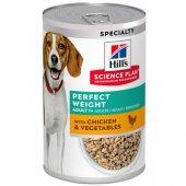 Hills Dog Perfect Weight, консерва с пиле и зеленчуци - За намаляване и поддържане на теглото