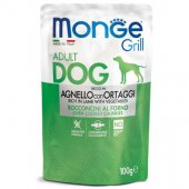 Monge Dog Grill - Пауч с хапки на грил с агнешко и зеленчуци