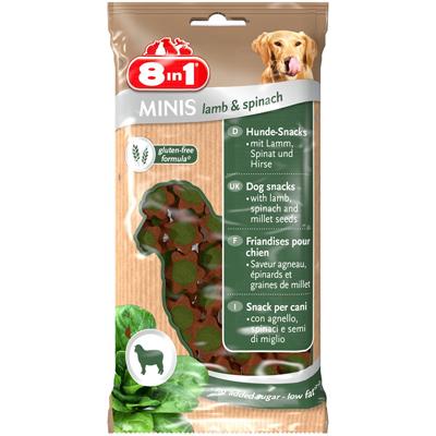8in1 Minis Лакомство за кучета със спанак и агнешко, 100 гр