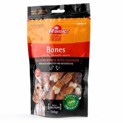 Pet Interest Bones Calcium with Chicken, 100гр - калциеви кокалчета с пиле