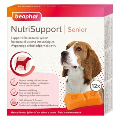 Beaphar Dog NutriSupport Senior - Желирани капсули за възрастни за имунна система, 12 броя