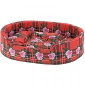 Ferplast Dandy C - легло от памучен плат, червено каре на рози